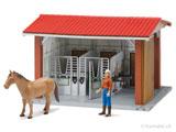 Bruder bworld Stall, Gebäude, Scheune, Reithof, Pferdestall, Figuren, Förster, Melken, Baustelle