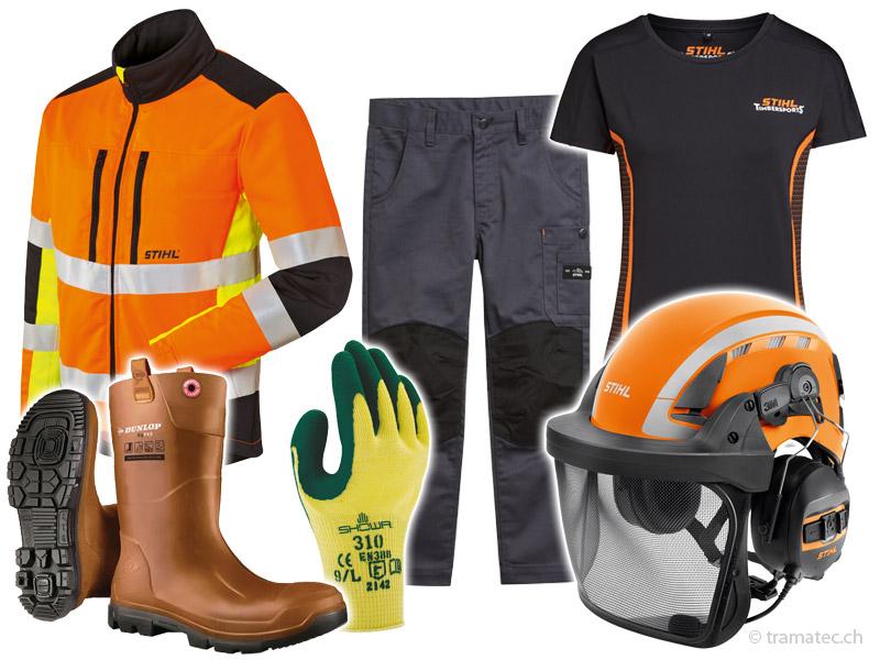 Jacken, Hosen, T-Shirts, Regenschutz, Sicherheitskleidung, Helme, Gehörschutz, Brillen...