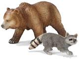 Schleich Wild Life - Braunbär, Grizzlybär, Waschbär