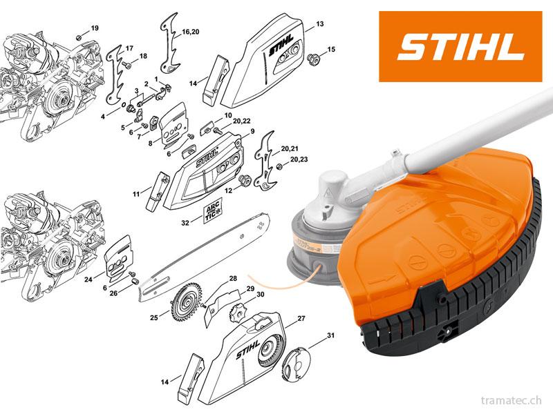 Stihl Ersatzteile für Motorsägen, Freischneider, Trennschleifer, Rasenmäher, Traktoren, Häcksler, Motorhacken, Laubsauger, Sprühgeräte, Kehrmaschinen