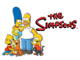 The Simpsons mit Homer, Marge, Lisa, Bart und Maggy