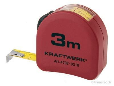 KRAFTWERK Rollmeter verchromt 3 m x 16 mm