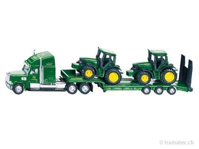 SIKU 1837 Tieflader mit John Deere Traktoren