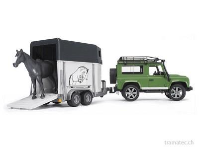 Bruder Land Rover Defender mit Pferdeanhänger - 02592