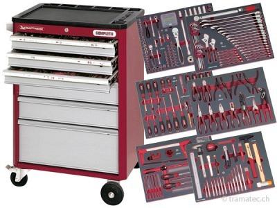 KRAFTWERK Werkzeugwagen hightech mit 6 Schubladen inkl. Werkzeug