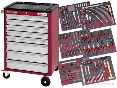 KRAFTWERK Werkzeugwagen hightech mit 8 Schubladen inkl. Werkzeug