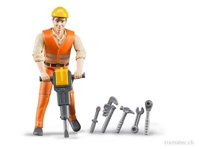 Bruder Bauarbeiter mit Zubehör - 60020