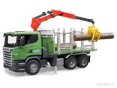 Bruder SCANIA R-Serie Holztransport-LKW mit Ladekran, Greifer und 3 langen Baumstämmen - 03524