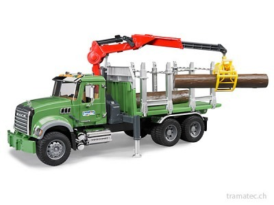 Bruder MACK Granite Holztransport-LKW mit Ladekran, Greifer und 3 langen Baumstämmen - 02824