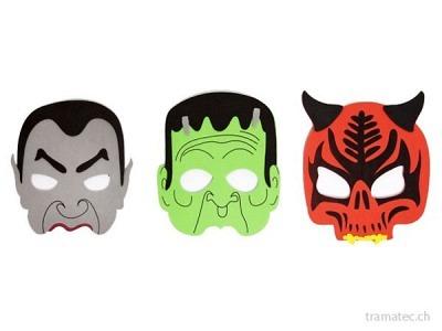 Fasnacht Halloween-Masken 3-fach ass.