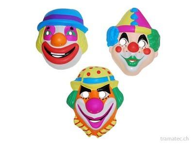 Fasnacht Clown-Masken 3-fach ass.