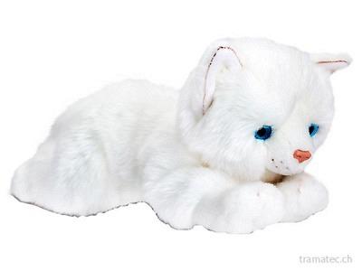 Keel Katze weiss liegend 30cm