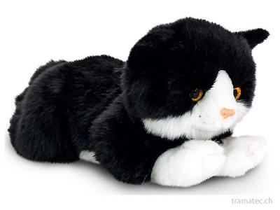 Keel Katze schwarz-weiss liegend 30cm