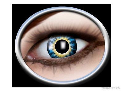 Fasnacht Kontaktlinsen 3-Ton gelb,blau
