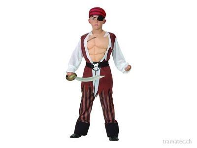 Fasnacht Pirat mit Muskel-Shirt M