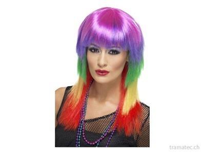 Fasnacht Perücke Rainbow