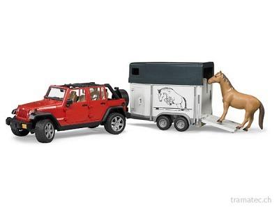 Bruder Jeep Wrangler UnlimitedRubicon mit Pferdeanhänger + 1 Pferd