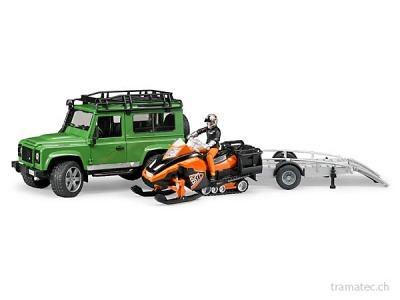 Bruder Land Rover Defender Station Wagon mit Anhänger, Snowmobil, Fahrer und Zubehör