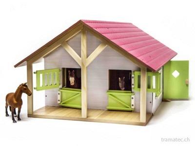 Kids Globe Pferdestall mit 2 Boxen rosa 1:24