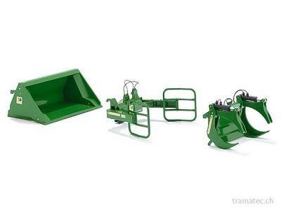 Wiking Frontlader Werkzeuge - Set A John Deere grün