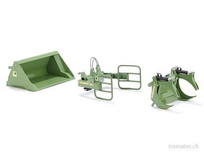Wiking Frontlader Werkzeuge - Set A Bressel und Lade grün