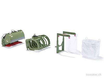 Wiking Frontlader Werkzeuge - Set B Bressel und Lade grün