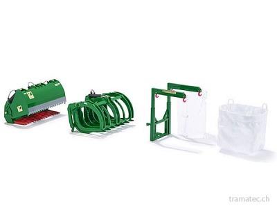 Wiking Frontlader Werkzeuge - Set B John Deere grün