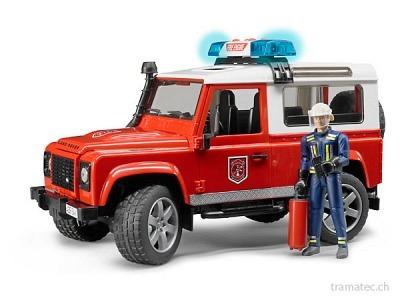Bruder Land Rover Defender Station Wagon Feuerwehr + Feuerwehrmann