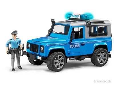 Bruder Land Rover Defender St. Wagon Polizeifahrz+L+S-Mod.+Polizist(blau silber)