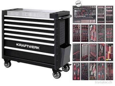 KRAFTWERK Werkzeugwagen mit 7 Schubladen und 310 Werkzeugen