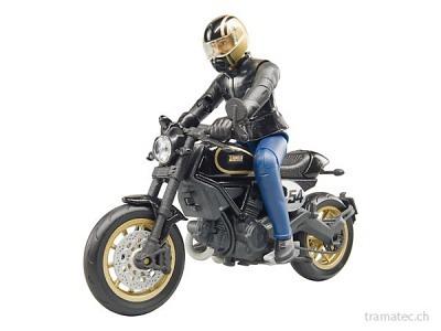 Bruder Motorrad Ducati Scrambler Cafe Racer mit Fahrer