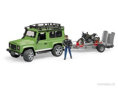 Bruder Land Rover Defender Station Wagon und Anhänger, Ducati Scrambler Cafe Racer und Fahrer