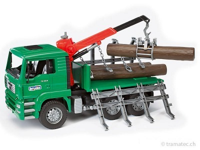 Bruder MAN Holztransport-LKW mit Ladekran und 3 Baumstämmen - 02769