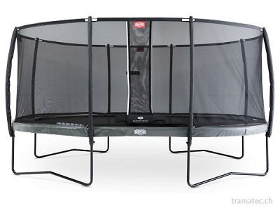 BERG Trampolin Grand Elite Regular 520 Grey + Sicherheitsnetz Deluxe