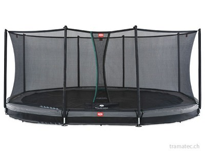 BERG Trampolin Grand Favorit InGround 520 Grey + Sicherheitsnetz Comfort