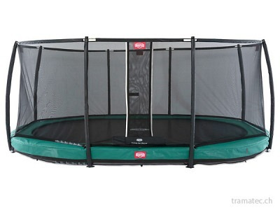 BERG Trampolin Grand Champion InGround 350 Green + Sicherheitsnetz Deluxe