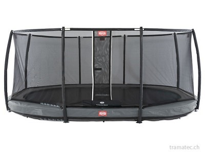 BERG Trampolin Grand Champion InGround 520 Grey + Sicherheitsnetz Deluxe