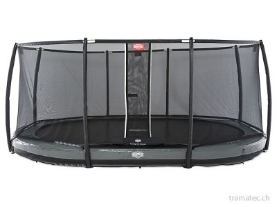 BERG Trampolin Grand Elite InGround 520 Grey + Sicherheitsnetz Deluxe