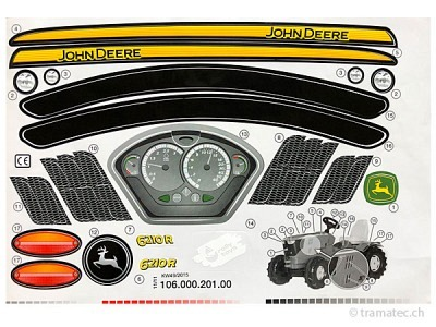 Rolly Toys Ersatzteil Aufkleber für John Deere 6210R