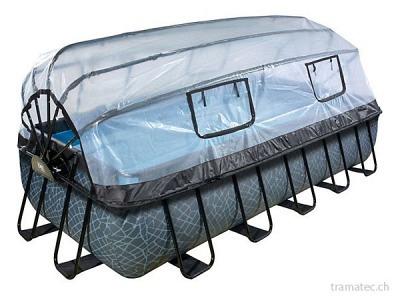 EXIT Schwimmbad 540 x 250 cm (Stein) mit Überdachung und Pumpe mit Sandfilter
