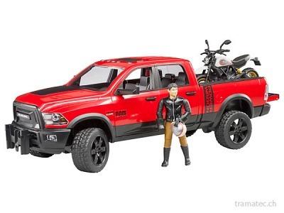 Bruder RAM 2500 Power Wagon mit Ducati Desert Sled und Fahrer