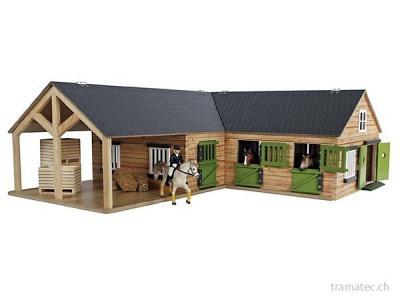 Kids Globe Pferde-Eckstall mit 3 Boxen und Lager 1:24