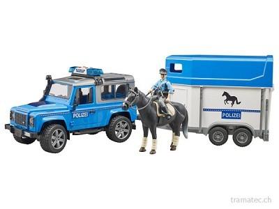 Bruder Land Rover Defender Polizeifahrzeug mit Pferdeanhänger, Pferd und Polizist