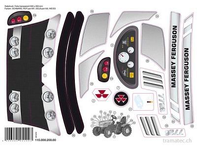 Rolly Toys Ersatzteil Aufkleber für Massey Ferguson MF 7726