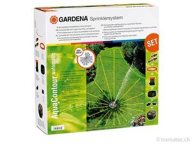 GARDENA Sprinklersystem Komplett-Set mit Vielflächen Versenkregner AquaContour automatic