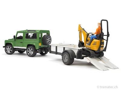 Bruder Land Rover Defender, Einachsanh., JCB Mikrobagger + Bauarbeiter