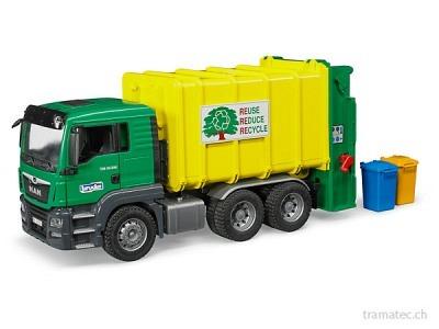 Bruder MAN TGS Müll-LKW Hecklader grün/gelb