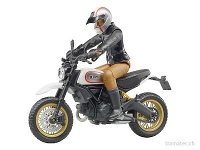 Bruder Motorrad Ducati Scrambler Desert Sled mit Fahrer