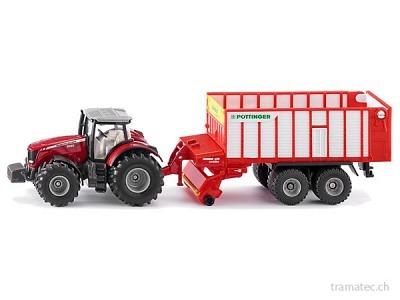 SIKU 1987 Massey Ferguson Traktor mit Pöttinger Jumbo