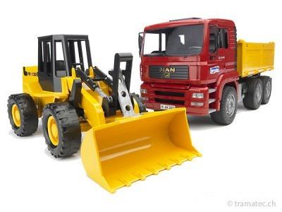 Bruder MAN TGA Kipplastwagen mit Gelenkradlader FR130 - 02752